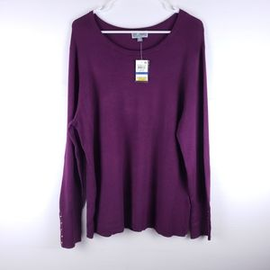 NWT JM Collection Plum Sweater Size XL